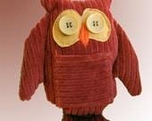 OOAK Vintage Corduroy Stuffed Owl Tooth Fairy Friend