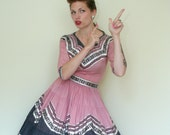 50s PINK and Black Fiesta Blouse and Skirt Set - SM