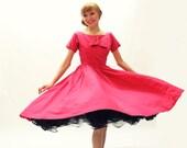 50s Dress PINK Anne Fogarty Full Skirt  - New Look Dress - XS