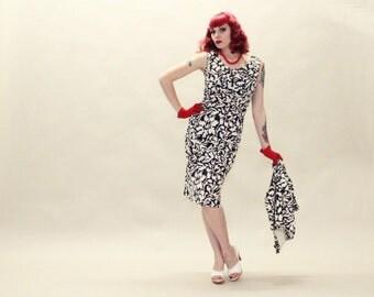 50s Dress Jacket Suit Set - RK Originals Black and White Nylon 2 piece Set - SM