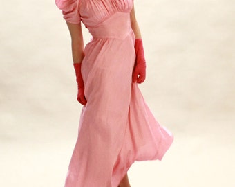SALE SALE 30s Pink Dress - Rayon Bias Cut Evening Gown With Tie Belt - Small