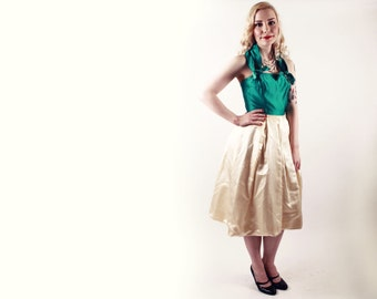 50s Dress - Green and Cream Satin Halter or Strapless Cocktail Dress - XS