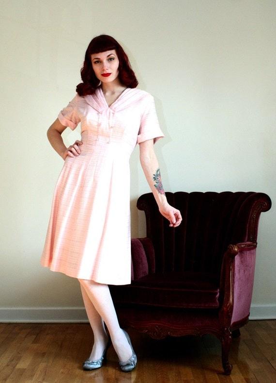 40s 50s Pink Waitress Uniform Dress Lrg By Twilajeanvintage