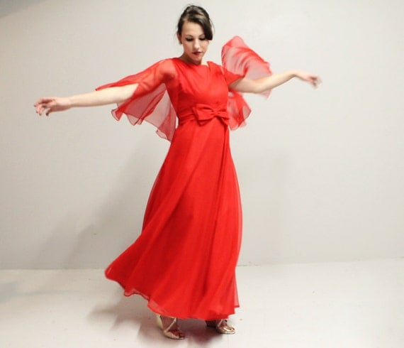 60s 70s RED Maxi Dress Gown - Flutter Sleeves - Lrg