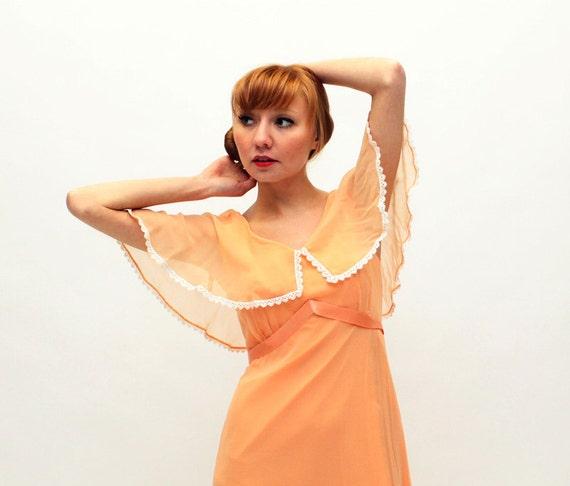 70s Maxi Dress - Peach Chiffon Full Length Dress - SM