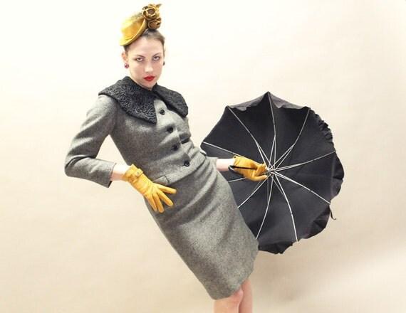 50s Suit -  Saks Fifth Avenue Grey Tweed with Black Persian Lamb Collar - SM