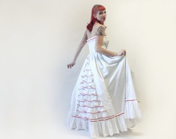 White and Red Strapless Ruffled Bustle Wedding Gown or Prom Dress - Small