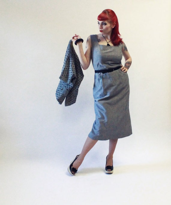 RESERVED FOR MONI 50s Dress and Jacket Set - Gray Cotton with Mustard Yellow