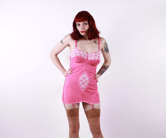 50s All In One Open Bottom Girdle - Hand Dyed PINK - Large 40C