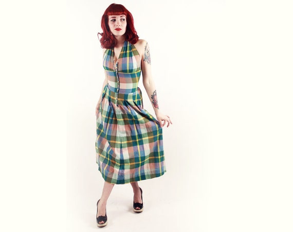 50s Halter Dress - Button Front Cotton Sundress in Bright Colors - Extra Small
