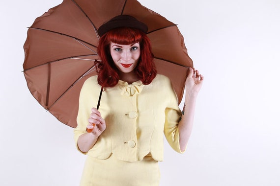 60s Yellow Suit - 2 PC Set with Bows VERY Mad Men - Small