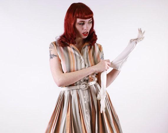 50s Dress - Pink Grey and Orange Stripe Cotton Shirtwaist Day Dress - Charles F Berg Large