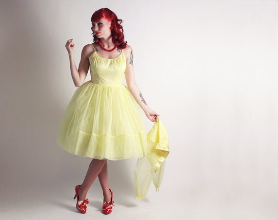 50s Yellow Dress and Bolero Over Blouse - Cocktail Party Dress - Small