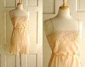 1920s Silk Chemise / Vintage Rose Lace Romper