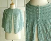 60s Sea Foam Cape / Vintage Crochet Shawl / Pastel Fashion