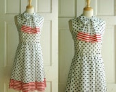 60s Polka Dot Dress / Vintage Red White Blue Dress