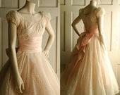 1950s Pink Wedding Dress / Vintage Pastel Tea Length Dress