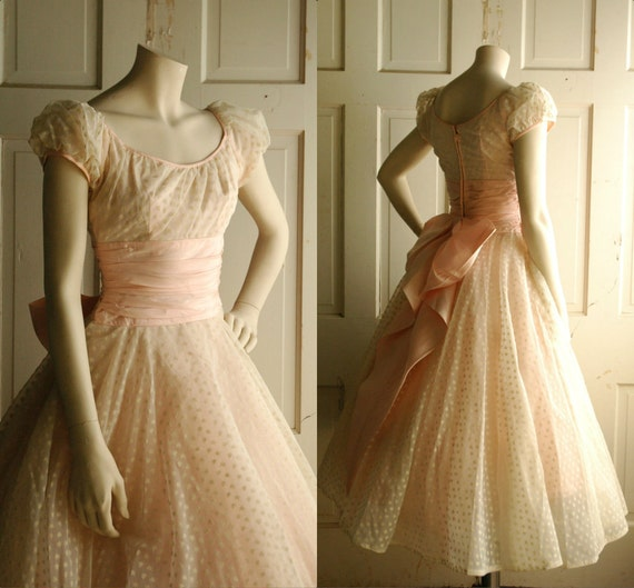 1950s pink wedding dress vintage pastel tea length dress for 1950 wedding dresses tea length