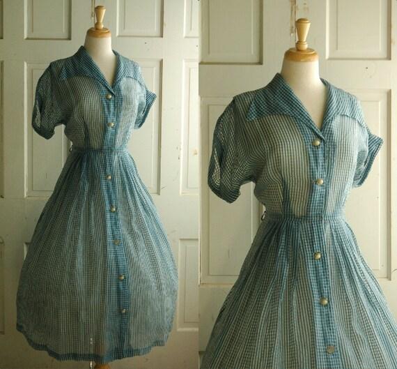 1950s Sheer Shirt Dress / Large Vintage Dress