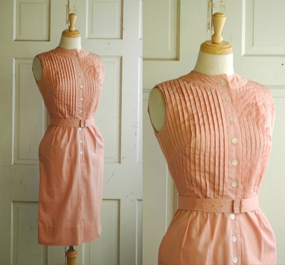 1960s Dusty Pink Day Dress / Vintage Cotton Brentshire Dress