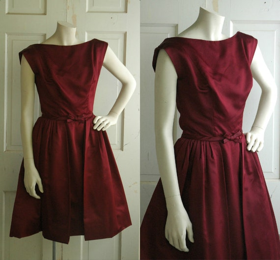 Vintage Wine Cocktail Dress / 1950s Party Dress