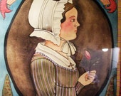 ORIGINAL Primitive Pennsylvania German folk art Portrait and Fraktur