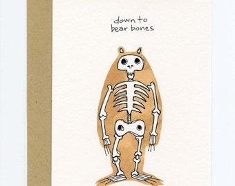 Greeting Card with Original Illustration - Down to Bear Bones