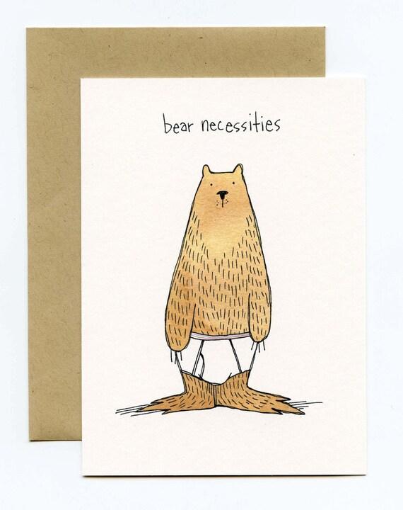 Greeting Card with Original Illustration - Bear Necessities