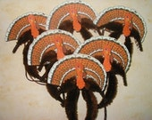 Vintage Style Feather Tree Thankgiving Turkey Ornaments