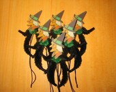 Vintage Style Feather Tree Halloween Wicked Witch Ornaments