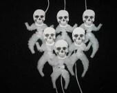 Vintage Style Feather Tree Halloween Skeleton Ornaments