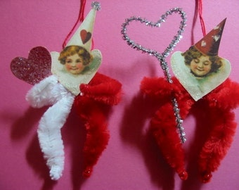 Vintage Style Feather Tree Ornaments Valentine