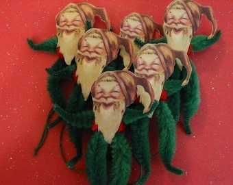 Vintage Style Feather Tree Christmas Elves Ornaments