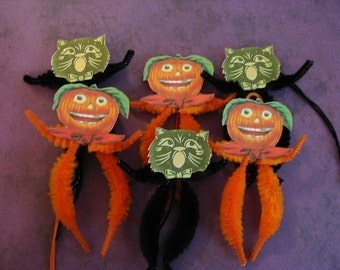 "Black Cats and Jack O""Lanterns Vintage Style Feather Tree Ornaments"