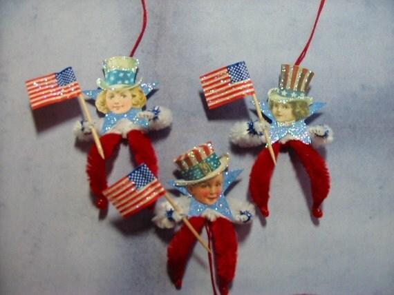 Vintage Style Feather Tree Ornaments Patriotic Boys