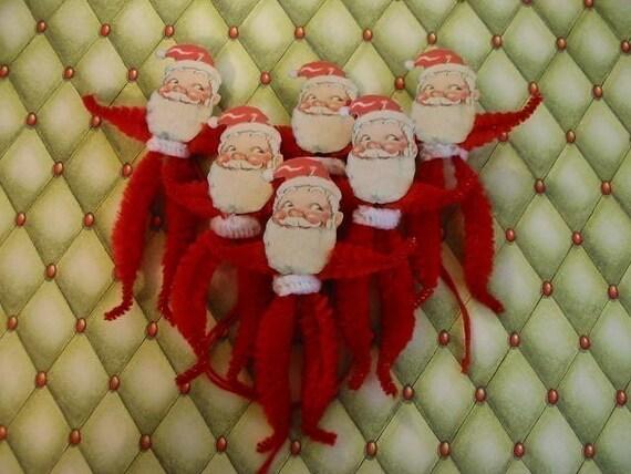 Vintage Style Feather Tree Santa Ornaments