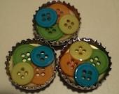 Bright Colored Button Bottle Cap Magnet Set