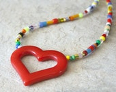 Heart Necklace Red Vintage Lucite Ghana Beads Handmade African Trade Beads Valentines Day Rainbow Choker