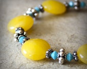 Sunshine Bracelet Handmade Semiprecious Summer Petite Yellow Turquoise Swarovski Bali Sterling Silver