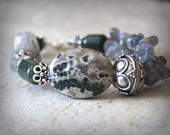 Green Grey Handmade Bracelet semiprecious stone Grass Quartz Ocean Jasper Sterling Silver Clean Fresh