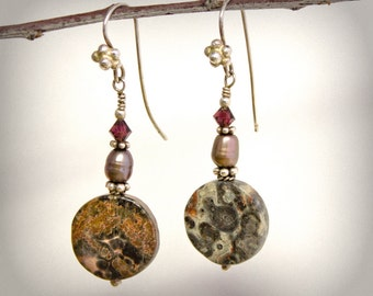 Burgundy Gray Pearl Earrings Sterling Silver Swarovski Crystal Pietersite Circle Natural Stone Handmade OOAK