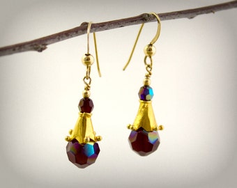 Burgundy Crystal Earrings Swarovski Crystal Genuine Gold Dramatic Autumn Winter Deep Red