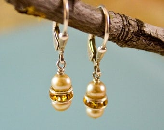 Pearl Bridal Earrings sterling artisan Simple Chic Swarovski Crystal amber autumn cream sparkle small classic