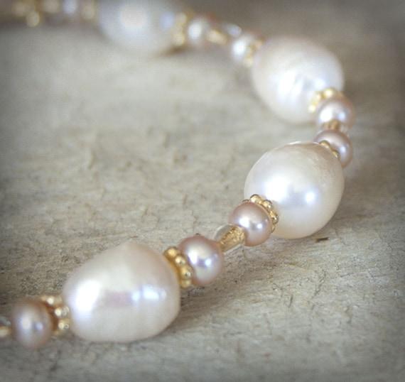 Pearls in Gold Bracelet Bridal Handmade 14K cream elegant unique wedding