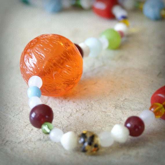 Colorful Vintage Lucite Necklace Czech glass mix beads Handmade funky asymmetrical Orange rainbow