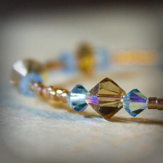 Swarovski Crystal Bracelet Aquamarine Blue Topaz Brown classic sparkle Handmade Bridesmaid