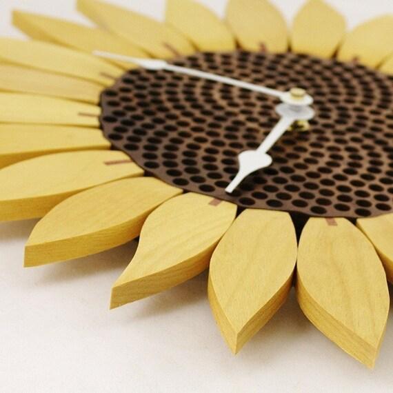 Sunflower clock - Yellowheart