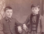 VINTAGE CABINET CARD Children Brother and Sister C Photograph Altered Art