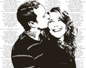 Engagement Portraits, Photo to Painting - unique gift, anniversary gift - custom canvas designed from your photo (DEPOSIT)