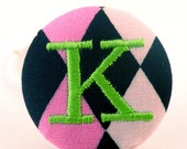 Personalized Monogram Initial Pony Tail Holder- Funky Harlequin